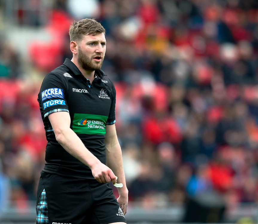 Glasgow Warriors' Finn Russell<br /> <br /> Photographer Simon King/Replay Images<br /> <br /> Guinness PRO14 Round 19 - Scarlets v Glasgow Warriors - Saturday 7th April 2018 - Parc Y Scarlets - Llanelli<br /> <br /> World Copyright © Replay Images . All rights reserved. info@replayimages.co.uk - http://replayimages.co.uk