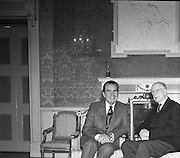 President Eamon de Valera receives President Nixon.<br /> 1970.<br /> 05.10.1970.<br /> 10.05.1970.<br /> 5th October 1970.<br /> President DeValera hosted President Richard Nixon at a reception in Áras an Uachtaráin in the Phoenix Park today.