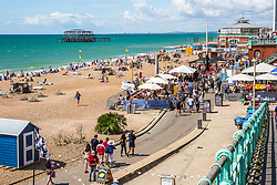 © Licensed to London News Pictures. 02/08/2020. Brighton, UK. Only a handful of people can be seen enjoying the beach in Brighton And Hove on Sunday afternoon. Photo credit: Hugo Michiels/LNP