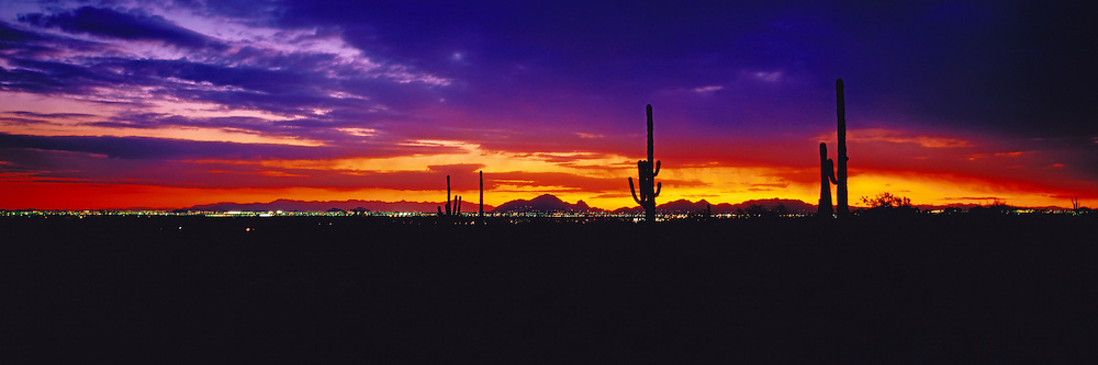 City lights at sunset in the Salt River Valley in the Sonoran Desert of Arizona