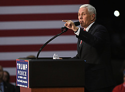 MOON TOWNSHIP, PA - NOVEMBER 3: Republican Vice Presidential candidate Mike Pence speaks to the crowd during a campaign rally at Atlantic Aviation on November 3, 2016 in Moon Township, Pennsylvania (Photo Credit: Justin Berl)