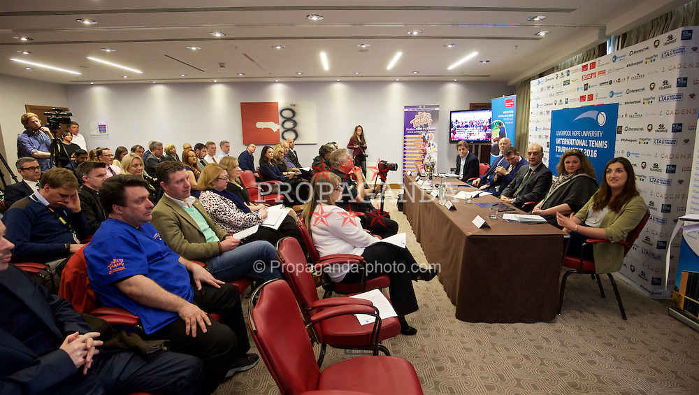 LIVERPOOL, ENGLAND - Monday, April 18, 2016: Media during the launch of the 2016 Liverpool Hope University International Tennis Tournament at the Hilton Hotel. (Pic by David Rawcliffe/Propaganda)