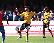 Newport County player Tom Owen-Evans wins possession during the Sky Bet League 2 match between Dagenham and Redbridge and Newport County at the London Borough of Barking and Dagenham Stadium, London, England on 19 September 2015. Photo by Bennett Dean.