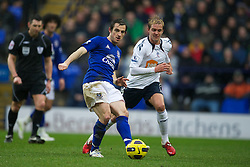 BOLTON, ENGLAND - Sunday, February 13, 2011: Everton's Leighton Baines in action against Bolton Wanderers during the Premiership match at the Reebok Stadium. (Photo by David Rawcliffe/Propaganda)