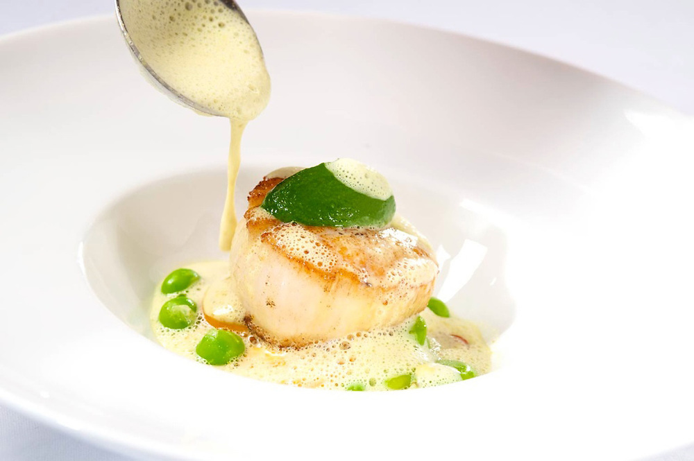 Seared Day Boat Scallop with<br /> Green Lentil Daube, Apple Smoked Bacon &amp; Celery Pur&eacute;e