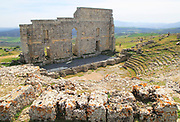 Remains of Roman theatre stage background wall and seating area, Acinipo Roman town site Ronda la Vieja, Cadiz province, Spain