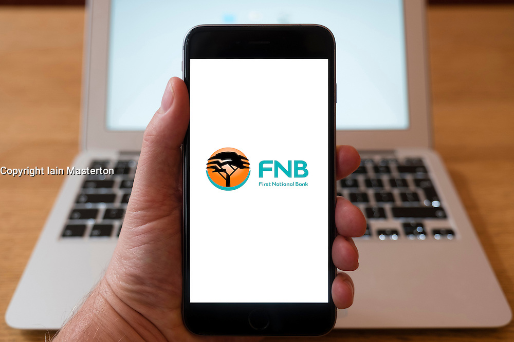 Using iPhone smart phone to display website logo of First National Bank of South Africa