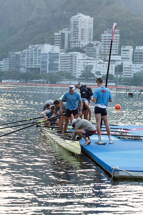 Rio de Janeiro. BRAZIL  USA M8+, Boating  General view of the boat park.  2016 Olympic Rowing Regatta. Lagoa Stadium,<br /> Copacabana,  &ldquo;Olympic Summer Games&rdquo;<br /> Rodrigo de Freitas Lagoon, Lagoa. Local Time 06:56:05  Tuesday  09/08/2016<br /> [Mandatory Credit; Peter SPURRIER/Intersport Images]