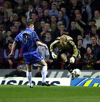 Photo. Richard Lane. <br />Aston Villa v Birmingham City. Barclaycard Premiership. 03/03/2003<br />Peter Enckelman makes the mistake leading to Geoff Horsfield's goal.