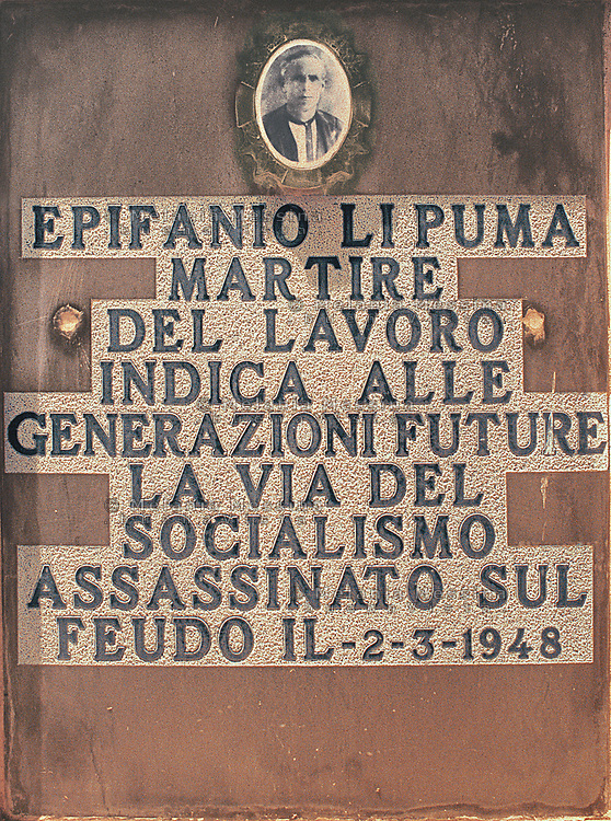 Headstone of Epifanio Li Puma, farmer and unionist killed by mafia on 1948.<br />