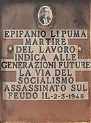 Headstone of Epifanio Li Puma, farmer and unionist killed by mafia on 1948.<br /> Lapide di Epifanio Li Puma, sindacalista e contadino ucciso dalla mafia nel 1948.