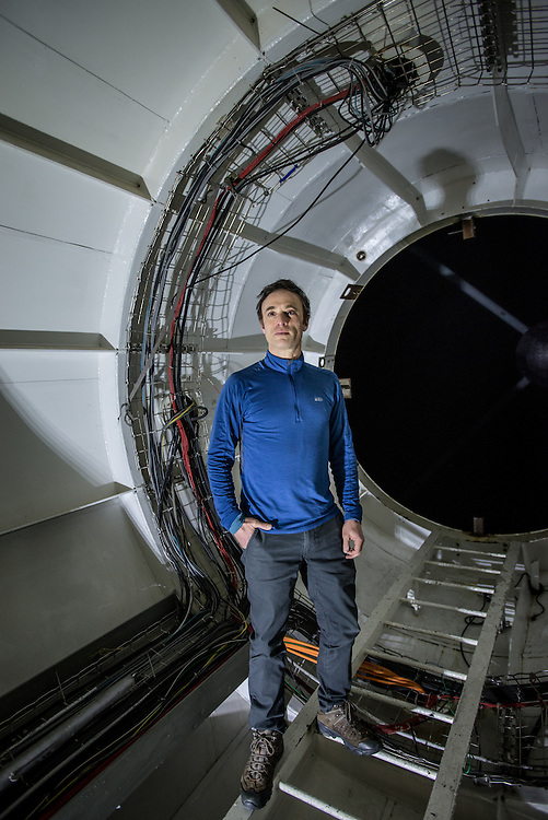 PICO DE ORIZABA NATIONAL PARK, PUEBLA, MEXICO - MARCH 28, 2015: Astronomer Sheperd Doeleman of MIT poses for a portrait inside of the heart of the Large Millimeter Telescope. Doeleman is leading a team of astronomers working in multiple telescopes around the world to connect them all to make one large telescope called the Event Horizon Telescope, as large as the earth that Doeleman believes has the capacity to make the first ever recorded image of the black hole. CREDIT: Meridith Kohut