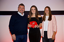 NEWPORT, WALES - Saturday, May 19, 2018: Josie Smith is presented with her Under-16's cap by Osian Roberts (left) and Lauren Dykes (right) during the Football Association of Wales Under-16's Caps Presentation at the Celtic Manor Resort. (Pic by David Rawcliffe/Propaganda)