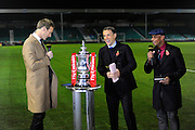 The BBC commentary team of Dan Walker, Phil Neville and Trevor Sinclair with the FA Cup before the The FA Cup match between Eastleigh and Swindon Town at Arena Stadium, Eastleigh, United Kingdom on 4 November 2016. Photo by Graham Hunt.