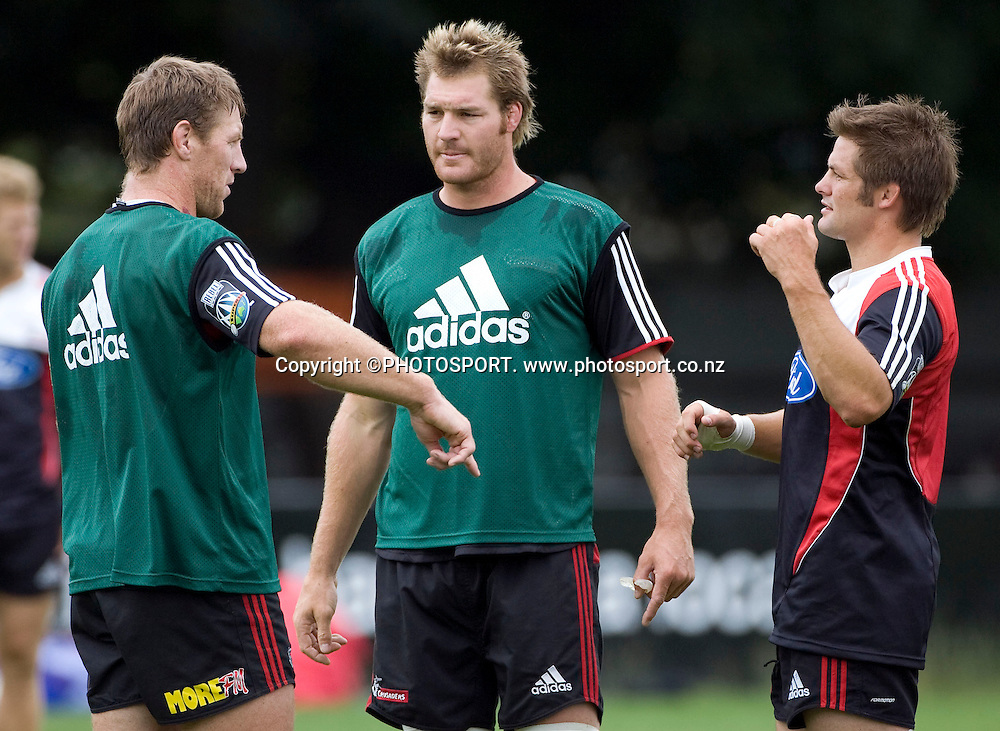 Crusaders Brad Thorn (L), Ali Williams and Richie McCaw during pre season training in Christchurch. Crusaders Super 14 training. Rugby Park, Christchurch.  Tuesday 15 January 2008. Photo: Simon Baker/PHOTOSPORT