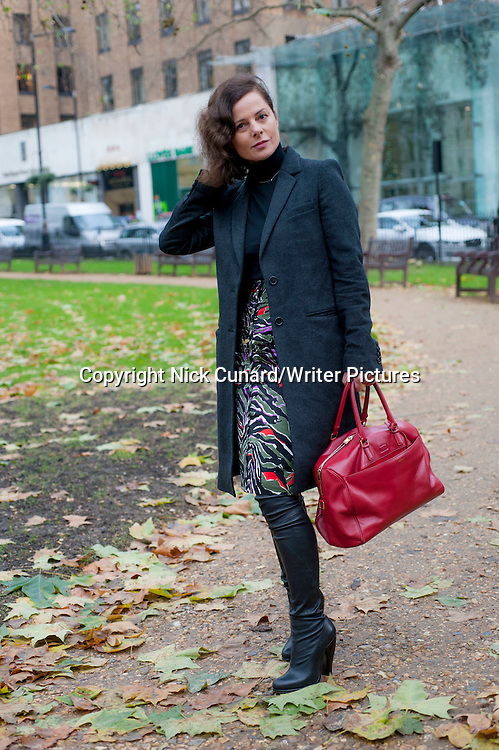 Harriet Quick, fashion writer, pictured in Berkley Square London W1<br /> 17th December 2013 <br /> <br /> Photograph by Nick Cunard/Writer Pictures<br /> <br /> <br /> WORLD RIGHTS