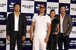 59636422  .Sung Kang, Vin Diesel, Michelle Rodriguez and Luke Evans (L to R) attend a press conference for the premiere of the movie Fast and Furious 6 in Seoul, South Korea, May 13, 2013. Photo by: i-Images.UK ONLY