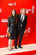 Géraldine Pailhas et Christopher Thompson arrivent à la cérémonie des César 2014 au Fouquets pour le repas après les César 2014, Restaurant le Fouquet's