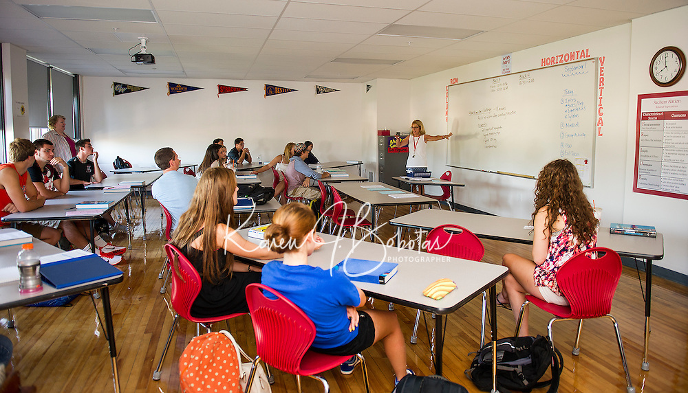 Students in Karen Anderson's math class at Laconia High School.  (Karen Bobotas/for the Laconia Daily Sun)