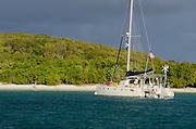 Catamaran sailboat moored in Saltpond Bay, Virgin Islands National Park, St. John, U.S. Virgin Islands.