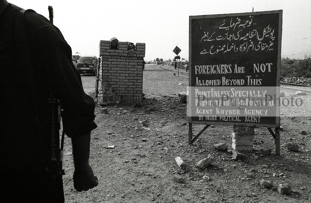 "A military post at the entrance/end of the Khyper Pass, about 10 miles form Peshawar..""Foreigners Are Not Allowed Beyond This Point (towards Afghanistan) Unless Specially Permitted By The Political Agent Khyber Agency. By order political agent"""