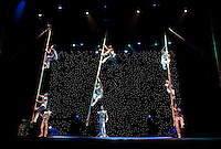 The Swinging Poles routine during the BAI XI Chinese Circus opening at The New Victory Theater in New York. ...Photo by Robert Caplin.