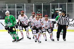 Players of Jesenice celebrate during ice hockey match between HDD Olimpija Ljubljana and HDD SIJ Acroni Jesenice in Final of Slovenian League 2016/17, on April 6, 2017 in Hala Tivoli, Ljubljana, Slovenia. Photo by Matic Klansek Velej/ Sportida