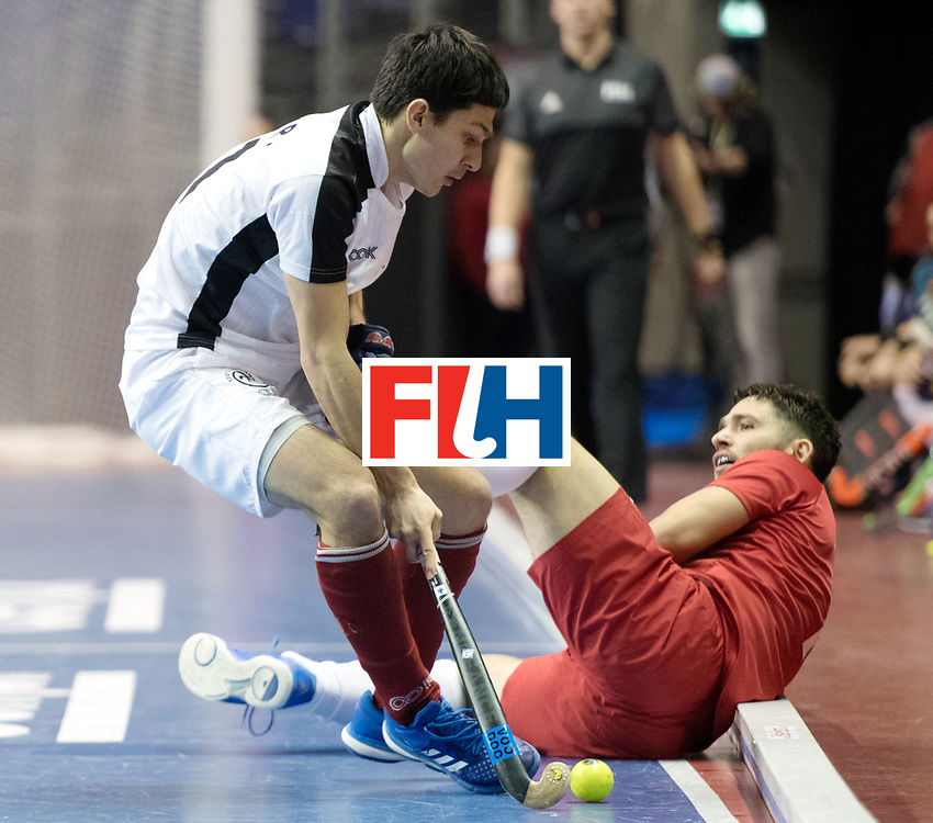 BERLIN - Indoor Hockey World Cup<br /> Quarterfinal 2: Austria - Poland<br /> foto: Patrick Schmidt and Tomasz G&oacute;rny <br /> WORLDSPORTPICS COPYRIGHT FRANK UIJLENBROEK