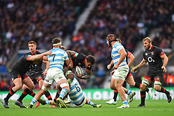 November 11, 2017 - London, England, United Kingdom - England's Courtney Lawes breaks through Argentina's Marcos Kremer and Argentina's Pablo Matera during Old Mutual Wealth Series between England against Argentina at Twickenham stadium , London on 11 Nov 2017  (Credit Image: © Kieran Galvin/NurPhoto via ZUMA Press)