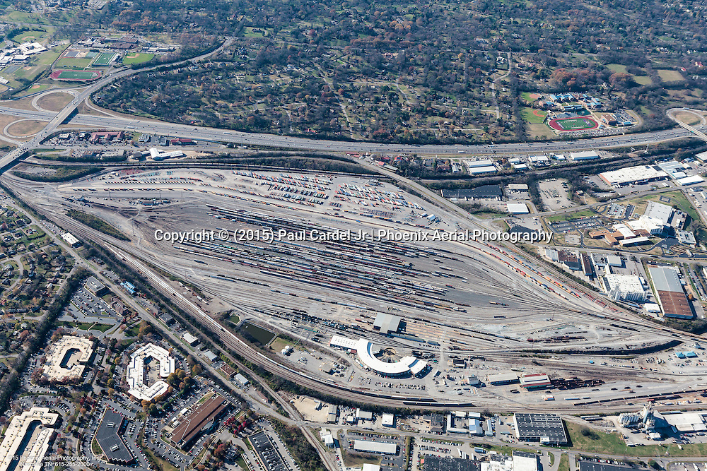 Aerial photo of Radnor Rail Yard in Nashville Tennessee.