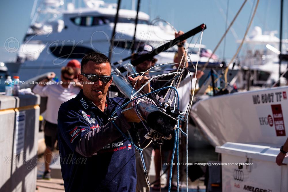Bacardi Miami Sailing Week sailors rig their boats.