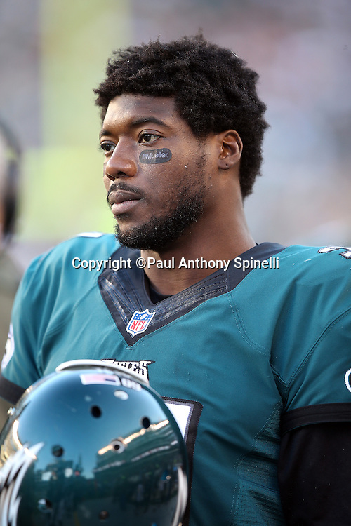 Philadelphia Eagles cornerback Byron Maxwell (31) looks on from the sideline during the 2015 week 10 regular season NFL football game against the Miami Dolphins on Sunday, Nov. 15, 2015 in Philadelphia. The Dolphins won the game 20-19. (©Paul Anthony Spinelli)