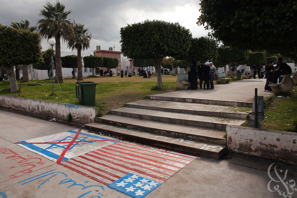Student activist graffiti against zionism and American imperialism is seen on the grounds of the Manouba University March 05, 2012 on the outskirts of Tunis, Tunisia. Recently the university has been the scene of rowdy protests by Islamist students and Salafists who opposed the deans decision to ban Muslim women from wearing the niqab in classes.