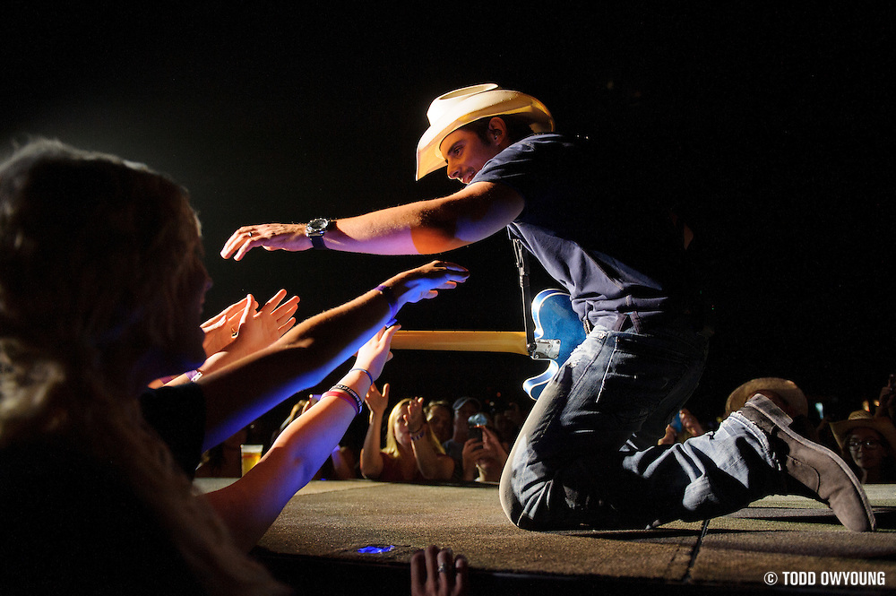Brad Paisley performing on opening night of his 2012 summer tour at the Verizon Wireless Amphitheater in St. Louis on May 18, 2012.