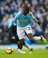 MANCHESTER, ENGLAND - Sunday, January 31, 2010: Manchester City's Emmanuel Adebayor in action against Portsmouth during the Premiership match at the City of Manchester Stadium. (Photo by David Rawcliffe/Propaganda)