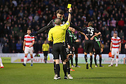 Stoke City defender Philipp Wollscheid  gets a yellow card  during the The FA Cup third round match between Doncaster Rovers and Stoke City at the Keepmoat Stadium, Doncaster, England on 9 January 2016. Photo by Simon Davies.