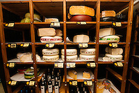 Cheese and alcoholic beverages on shelves at store