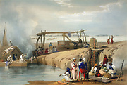 Persian wheel raising water from the Sutlej River - Punjab, Pakistan. (India). Hand coloured lithograph from Atkinson 'Afghanistan', London, 1842