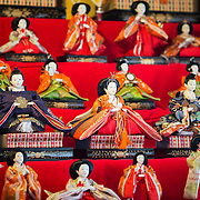 Traditional Japanese doll collection.