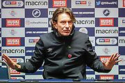 Brentford manager Thomas Frank answers questions at the post-match press conference after the EFL Sky Bet Championship match between Millwall and Brentford at The Den, London, England on 29 December 2019.