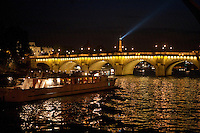boats on the River Seine, Paris, approaching the Pont Neuf, with a view of the Eiffel Tower