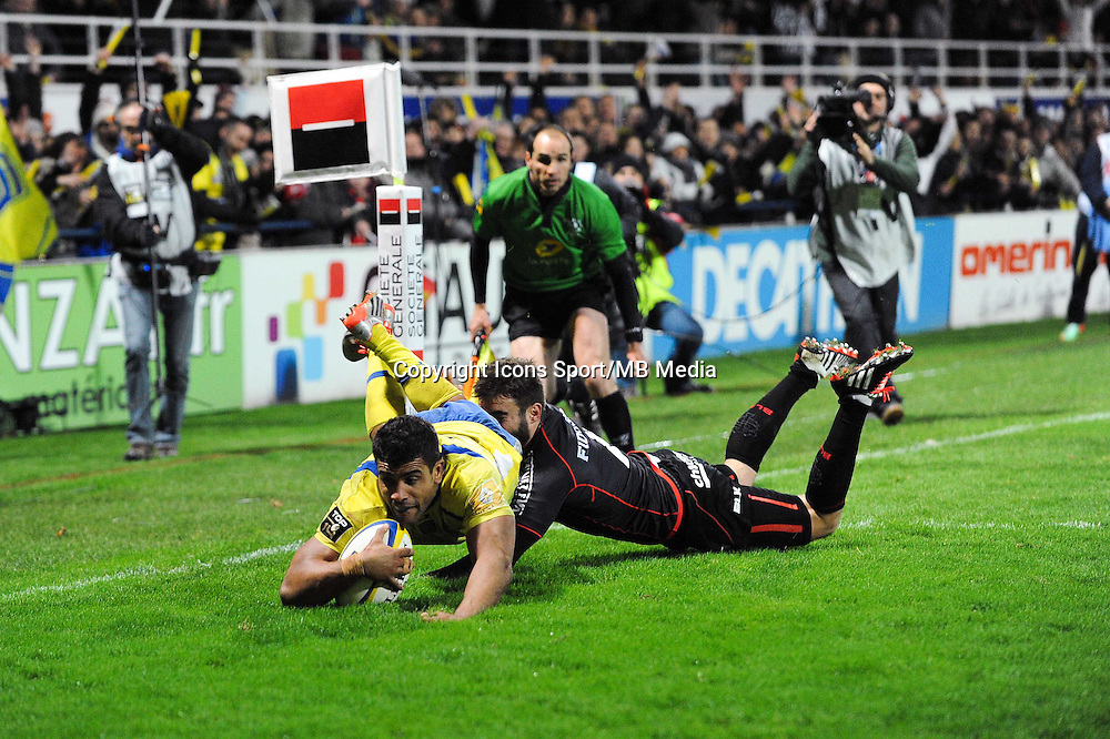 Essai de Wesley FOFANA - 04.01.2015 -  Clermont / Toulouse - 15eme journee de Top 14 - <br />