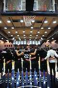 November 27, 2011; Moraga, CA, USA; The Saint Mary's Gaels stand for the national anthem before the Shamrock Office Solutions Classic against the San Francisco State Gators at McKeon Pavilion. The Gaels defeated the Gators 86-52.