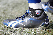 An Indianapolis Colts player sports a sock with and NFL logo during the NFL week 16 football game against the Oakland Raiders on Sunday, December 26, 2010 in Oakland, California. The Colts won the game 31-26. (©Paul Anthony Spinelli)