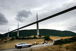 FRANCE MILLAU 22AUG05 - General view of the Bridge in the sky near Millau in southern France. Designed by British architect Sir Norman Foster, the bridge?s pylons and giant suspension cables tower to over 340 metres ? 23 metres higher than the top of the Eiffel Tower. It weighs 36,000 tonnes, suspends cars 270 metre above ground and at over 1.5 miles long, is the longest viaduct in the world. The bridge was built to provide a direct route between Paris and the Spanish city of Barcelona. ..jre/Photo by Jiri Rezac..© Jiri Rezac 2005..Contact: +44 (0) 7050 110 417.Mobile:  +44 (0) 7801 337 683.Office:  +44 (0) 20 8968 9635..Email:   jiri@jirirezac.com.Web:     www.jirirezac.com..© All images Jiri Rezac 2005 - All rights reserved.