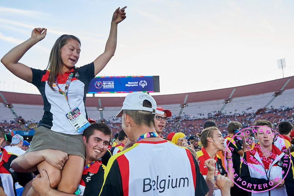 SO Belgium pose to family photo while Closing Ceremony of the Special Olympics World Games Los Angeles 2015 at the Los Angeles Coliseum Stadium on ninth day, August 2, 2015 in Los Angeles, USA.<br /> <br /> USA, Los Angeles, August 2, 2015<br /> <br /> Picture also available in RAW (NEF) or TIFF format on special request.<br /> <br /> For editorial use only. Any commercial or promotional use requires permission.<br /> <br /> Adam Nurkiewicz declares that he has no rights to the image of people at the photographs of his authorship.<br /> <br /> Mandatory credit:<br /> Photo by &copy; Adam Nurkiewicz / Mediasport