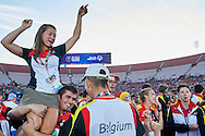 SO Belgium pose to family photo while Closing Ceremony of the Special Olympics World Games Los Angeles 2015 at the Los Angeles Coliseum Stadium on ninth day, August 2, 2015 in Los Angeles, USA.<br /> <br /> USA, Los Angeles, August 2, 2015<br /> <br /> Picture also available in RAW (NEF) or TIFF format on special request.<br /> <br /> For editorial use only. Any commercial or promotional use requires permission.<br /> <br /> Adam Nurkiewicz declares that he has no rights to the image of people at the photographs of his authorship.<br /> <br /> Mandatory credit:<br /> Photo by © Adam Nurkiewicz / Mediasport