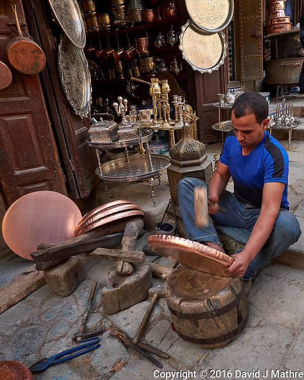 Copper Vendor in the Medina of Fes. Image taken with a Fuji X-T1 camera and Zeiss 12 mm f/2.8 lens (ISO 200, 12 mm, f/5, 1/150 sec).