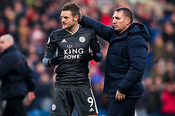Leicester City manager Brendan Rogers high fives a dejected looking Jamie Vardy of Leicester City - Mandatory by-line: Robbie Stephenson/JMP - 19/01/2020 - FOOTBALL - Turf Moor - Burnley, England - Burnley v Leicester City - Premier League