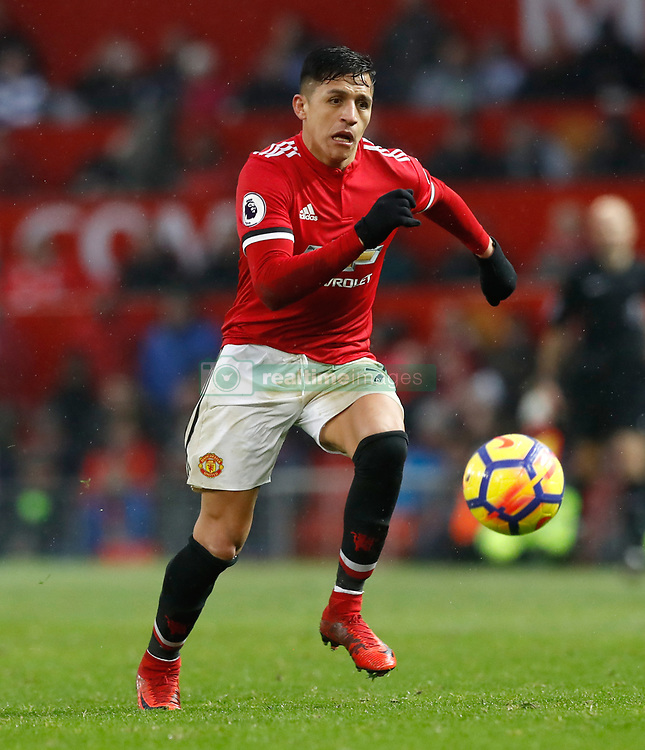 "Manchester United's Alexis Sanchez during the Premier League match at Old Trafford, Manchester. PRESS ASSOCIATION Photo. Picture date: Saturday February 3, 2018. See PA story SOCCER Man Utd. Photo credit should read: Martin Rickett/PA Wire. RESTRICTIONS: EDITORIAL USE ONLY No use with unauthorised audio, video, data, fixture lists, club/league logos or ""live"" services. Online in-match use limited to 75 images, no video emulation. No use in betting, games or single club/league/player publications."
